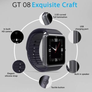 GT08 Bluetooth Smart Watch Sync Notifier With SIM