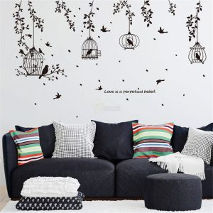 Birdcage wall stickers home decor living room stickers above sofa