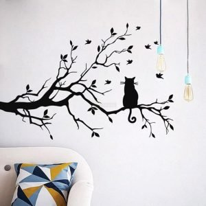 Cat on Long Tree Branch Wall Sticker Cats Art Kids Room Decor above sofa