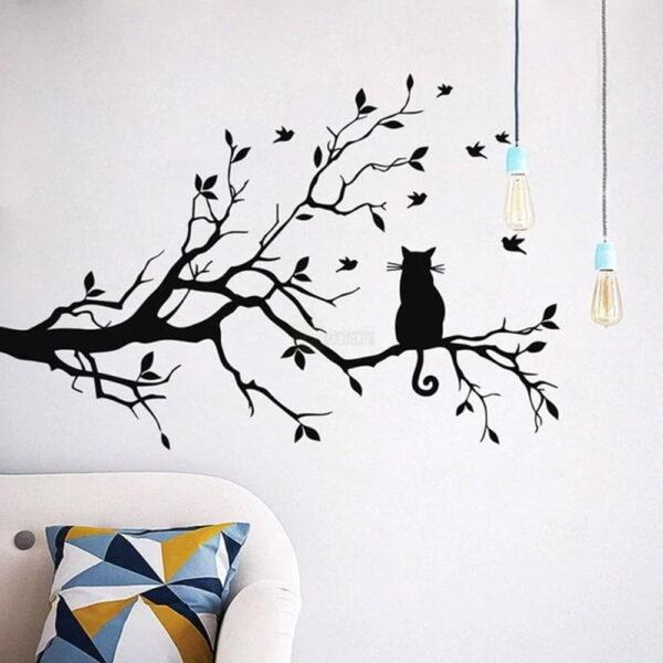 Cat on Long Tree Branch Wall Sticker Cats Art Kids Room Decor above sofa
