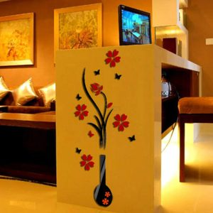 DIY Vase Flower Tree Crystal Arcylic 3D Wall Sticker home decoration