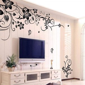 Flowers and Vine Removable Vinyl Wall Sticker Mural Decal Art