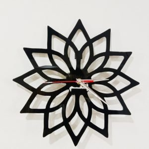 Acrylic clock black design 4 flower zoomed