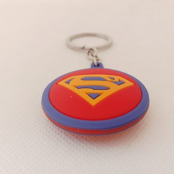superman logo keychain rubber side