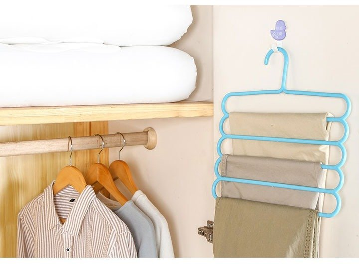 5 Layer Multi Colors Multi functional Clothes Hangers blue