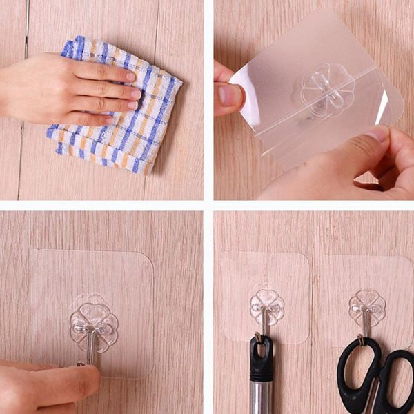 Wall Transparent Hook Waterproof Self Adhesive for Bathroom Kitchen application