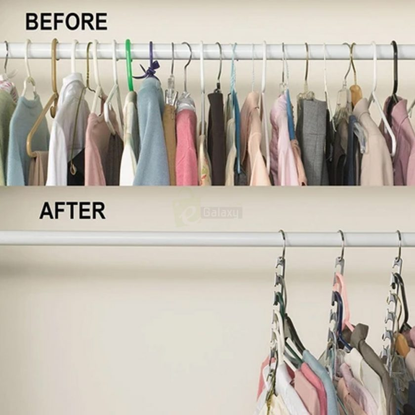 Wonder Hanger Closet Wardrobe Organizer Pack of 8 before after