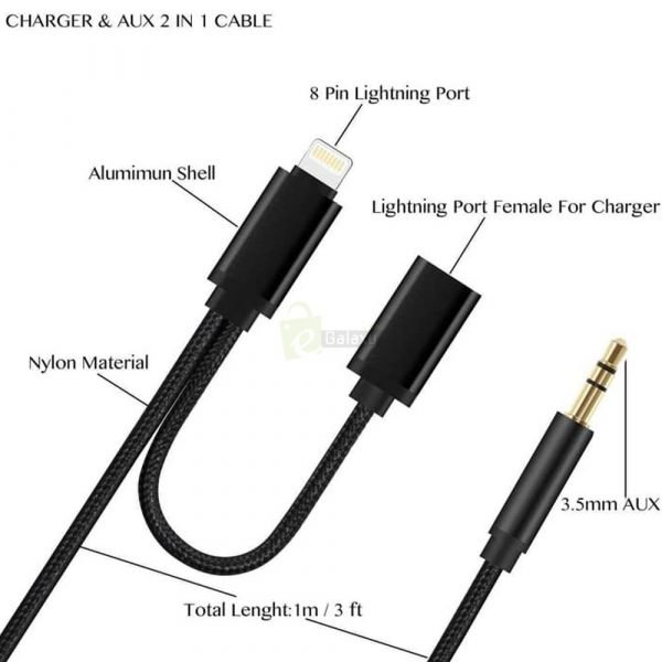 iP3.5mm Lightning Iphone X Charging Audio Aux Cable for ipad JS 038