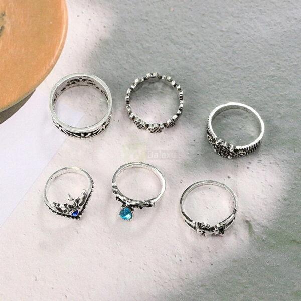 13pcs Set Antique Silver Rings for Women Jewelry JW03 2