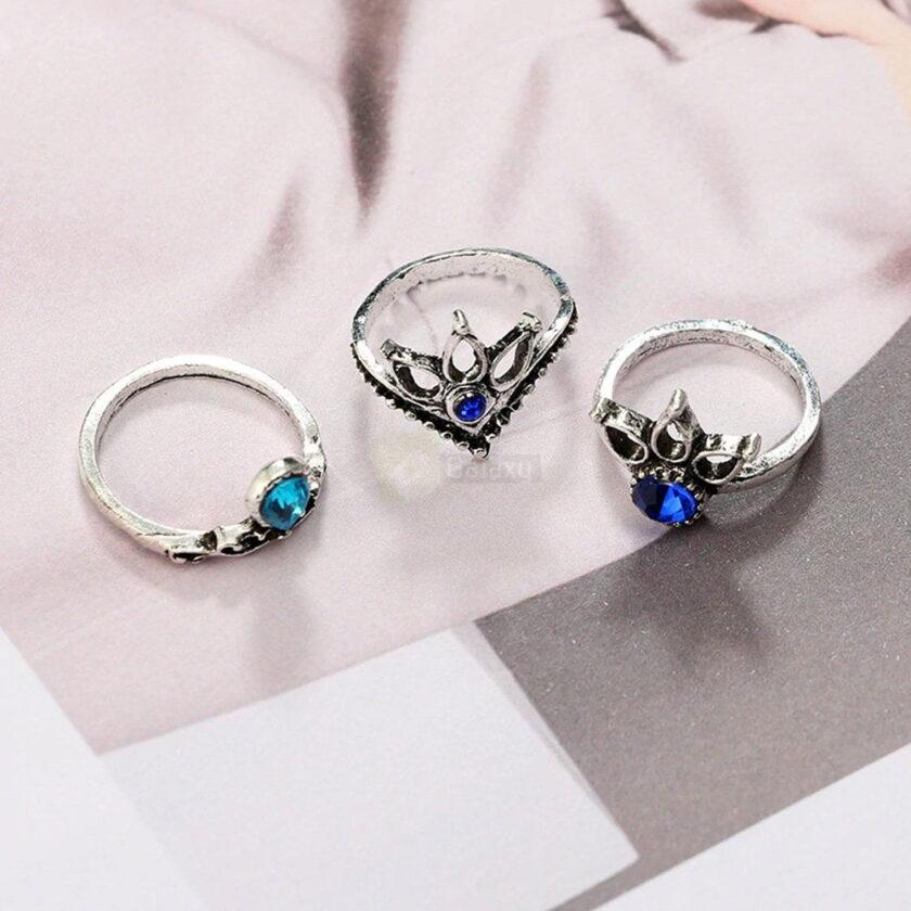 13pcs Set Antique Silver Rings for Women Jewelry JW03 3