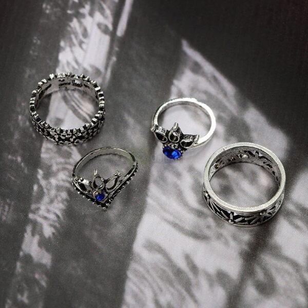 13pcs Set Antique Silver Rings for Women Jewelry JW03 5