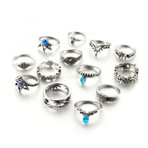 13pcs Set Antique Silver Rings for Women Jewelry JW03 7