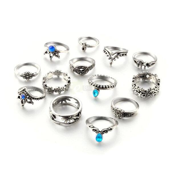 13pcs Set Antique Silver Rings for Women Jewelry JW03 7