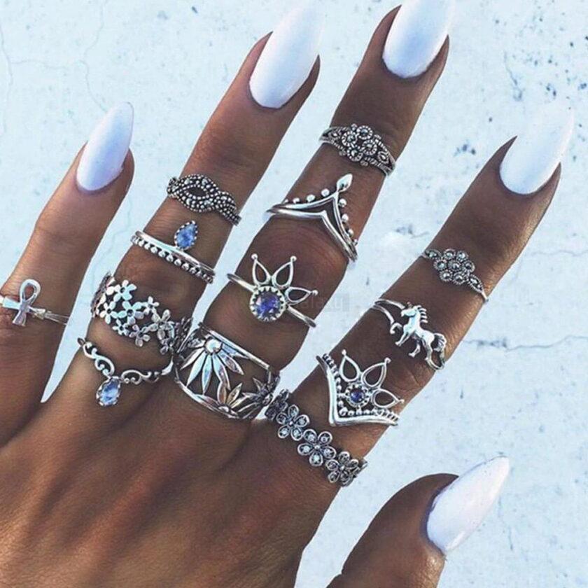 13pcs Set Antique Silver Rings for Women Jewelry JW03 8