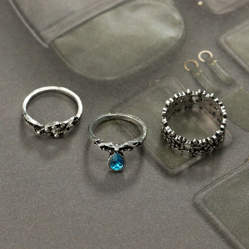 13pcs Set Antique Silver Rings for Women Jewelry JW03