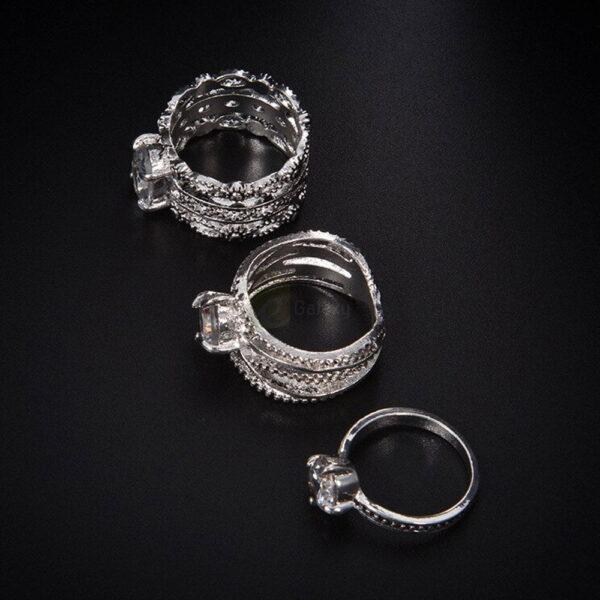 3pcs Silver Rings Set Old Vintage Rings Women Jewelry JW010 1