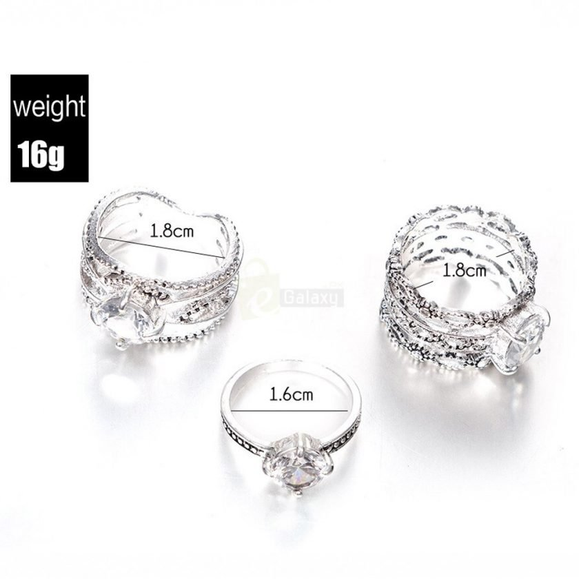 3pcs Silver Rings Set Old Vintage Rings Women Jewelry JW010 2