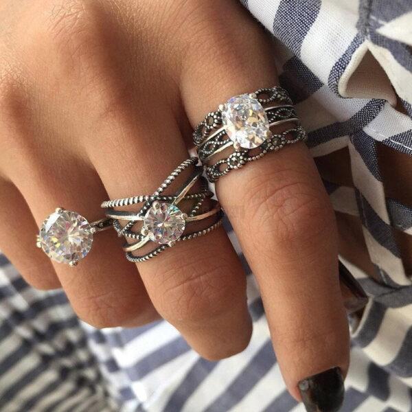 3pcs Silver Rings Set Old Vintage Rings Women Jewelry JW010