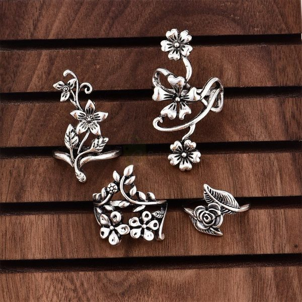 4pcs Set Vintage Rose Flower Rings Antique Women Jewelry JW08 1