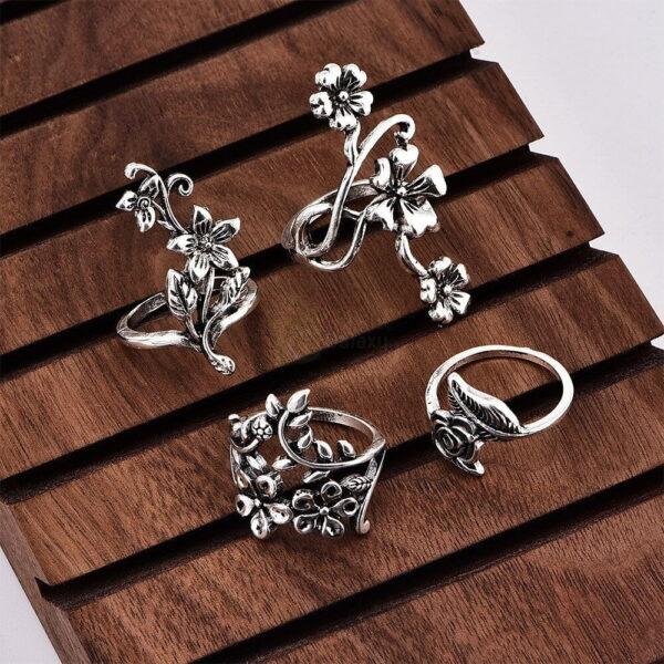4pcs Set Vintage Rose Flower Rings Antique Women Jewelry JW08 2