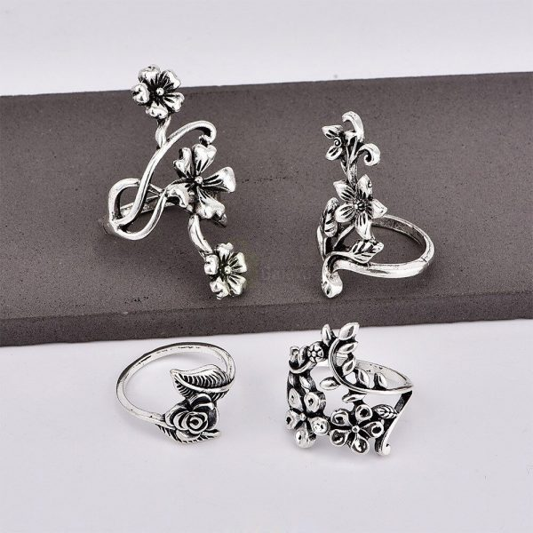 4pcs Set Vintage Rose Flower Rings Antique Women Jewelry JW08 3