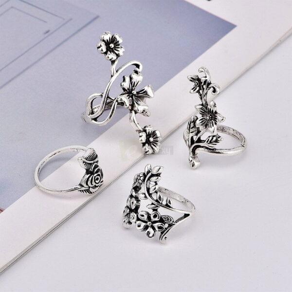 4pcs Set Vintage Rose Flower Rings Antique Women Jewelry JW08 4