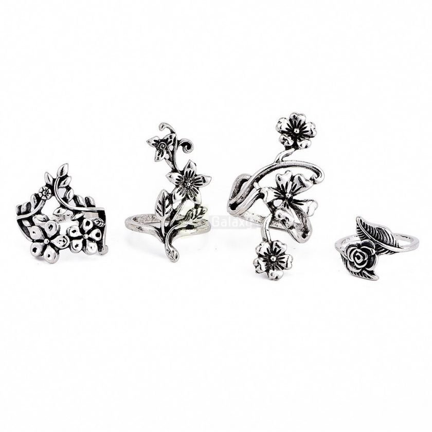 4pcs Set Vintage Rose Flower Rings Antique Women Jewelry JW08 5