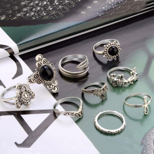9pcs Set Vintage Crystal Feather Crown Finger Rings Women Jewelry JW09 1 1