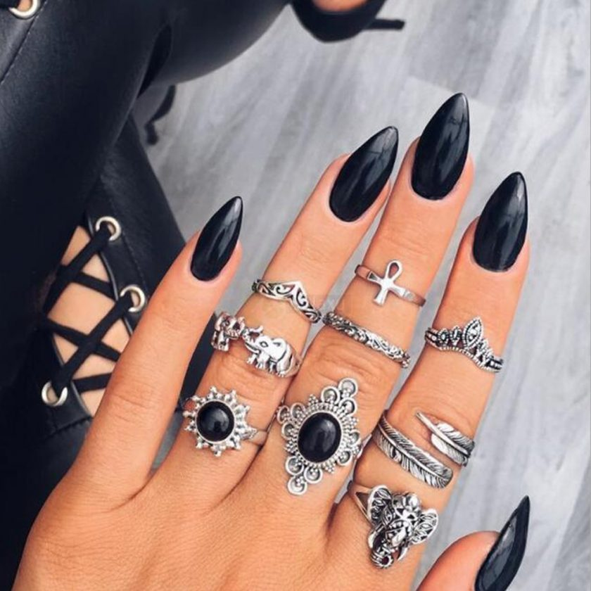 9pcs Set Vintage Crystal Feather Crown Finger Rings Women Jewelry JW09