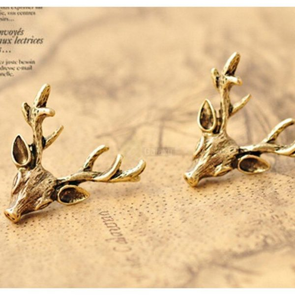 Deer Head Earrings Stud Vintage Retro For Women Jewelry JW04 1