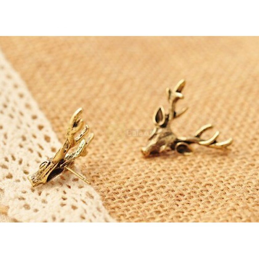 Deer Head Earrings Stud Vintage Retro For Women Jewelry JW04 2
