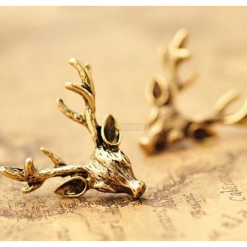 Deer Head Earrings Stud Vintage Retro For Women Jewelry JW04 3
