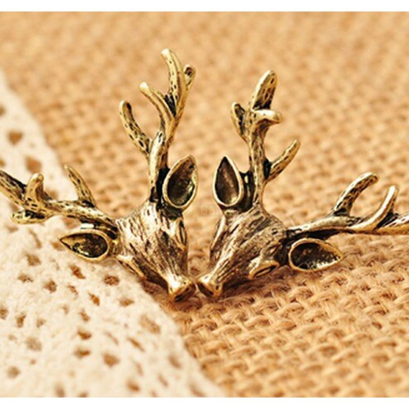 Deer Head Earrings Stud Vintage Retro For Women Jewelry JW04 4
