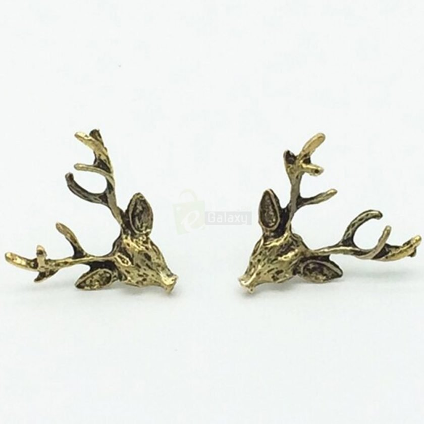 Deer Head Earrings Stud Vintage Retro For Women Jewelry JW04 5