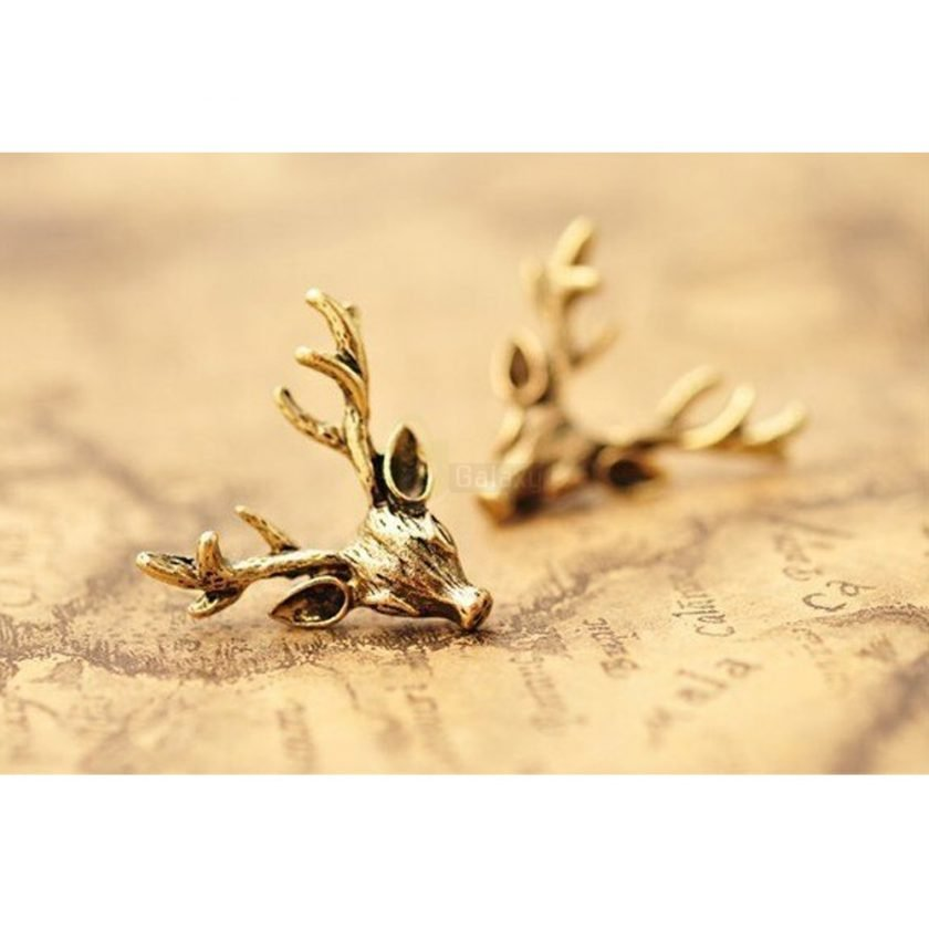 Deer Head Earrings Stud Vintage Retro For Women Jewelry JW04