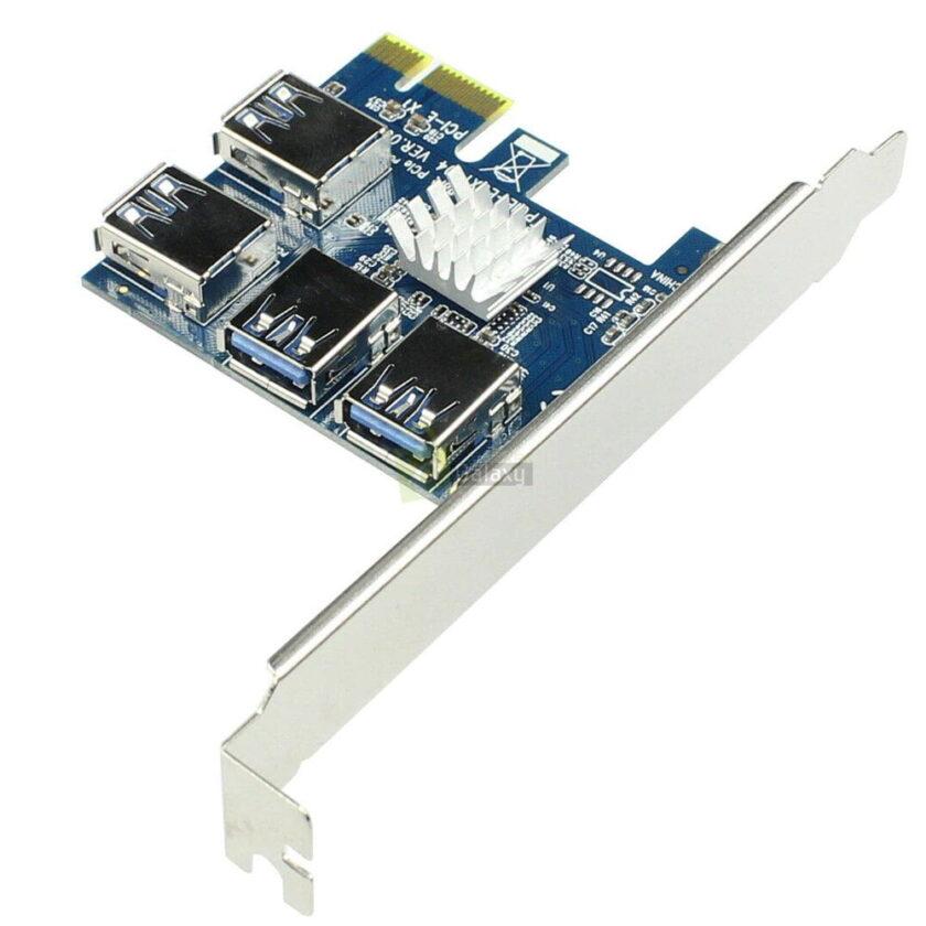 PCI Express Riser Card 1x to 16x 1 to 4 USB 3.0 Slot PCI E Multiplier Hub for Mining 1