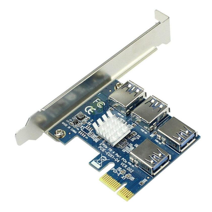 PCI Express Riser Card 1x to 16x 1 to 4 USB 3.0 Slot PCI E Multiplier Hub for Mining