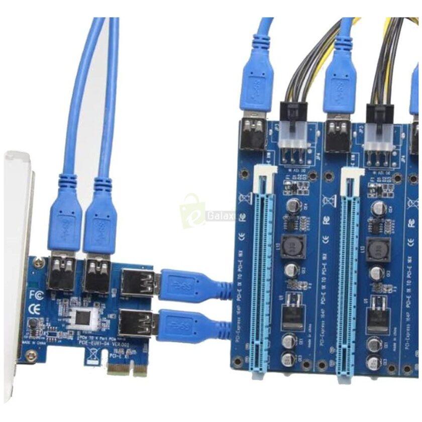 PCI Express Riser Card 1x to 16x 1 to 4 USB 3.0 Slot PCI E Multiplier Hub for Mining risers